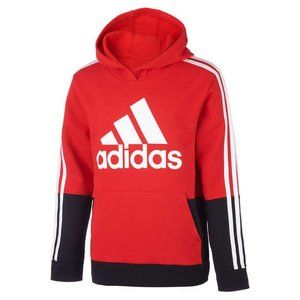 Adidas boys Youth Fleece Hoodie Red Black  L 14-16